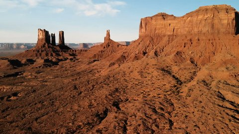 Scenic landscape near the Oljato–Monument Valley. Aerial view, from above, drone shooting. Arizona - Utah border