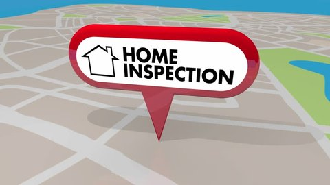 Home Inspection House Inspector Check Map Pin 3d Animation