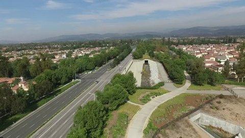 Aerial of Residential Neighborhood Street in Irvine Orange County California USA.mov