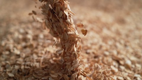 Camera follows throwing oats over a pile of oats. Shot with high speed camera, 4K. Slow Motion.