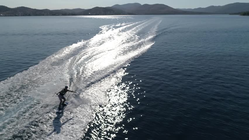 4K aerial footage of wakeboard and water sport in croatia | Shutterstock HD Video #1015546552