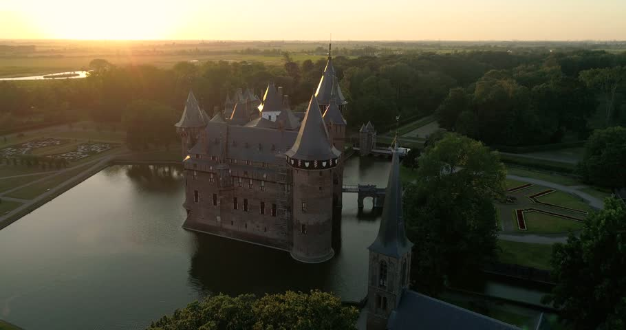 Aerial view of De Haar Castle in Dutch Kasteel de Haar is located in Utrecht Netherlands the current buildings all built upon the original castle, date from 1892 | Shutterstock HD Video #1015551172