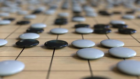 Go ancient board game. Strategy or tactics related loopable animation