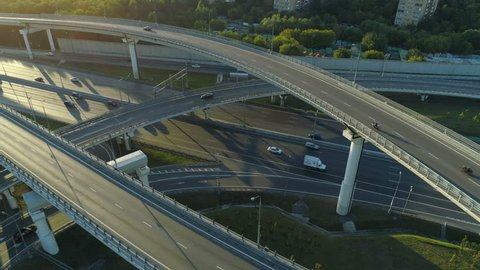aerial view of the road junction in Moscow at sunny day
