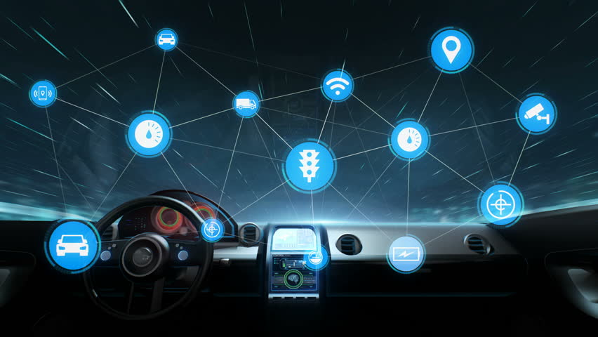 Inside of Future hybrid cars, IoT car connect traffic information graphic icon control system, Internet of things,  Global network connection, 4k animation. 1. | Shutterstock HD Video #1015594612