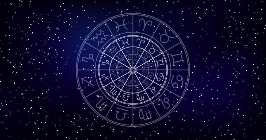 Astrology horoscope circle with zodiac signs vector background. Cosmos, space. Aquarius, libra, leo, taurus, cancer, pisces, virgo, capricorn, sagittarius, aries, gemini, scorpio. purple violet trendy