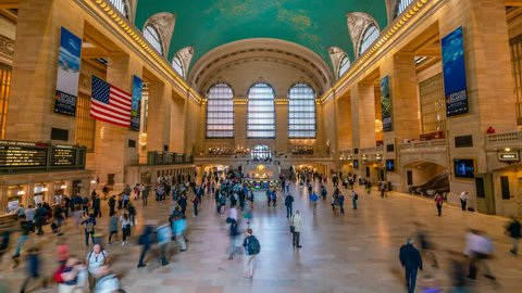 New York, USA - May 10, 2018: 4k timelapse video of commuters at Grand Central Station in New York
