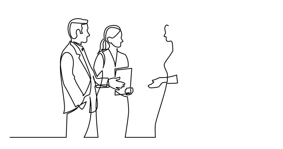 Animation of continuous line drawing of standing businee people discussing deal | Shutterstock HD Video #1015672702