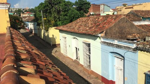 Trinidad, Cuba: Aerial view of the colonial houses in the Unesco World Heritage Site. Point of view from the St. Francis of Assisi Convent terrace.