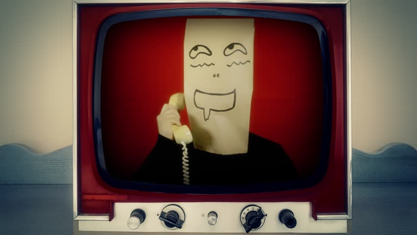 A retro vintage TV showing a creepy drooling excited breadbag face using a rotary phone, close-up shot.
