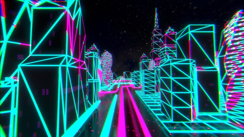 80s style cyber neon city 3d animation