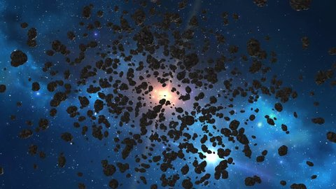 Beautiful flying through the asteroid belt in outer space. The collision of asteroids, hyperspace