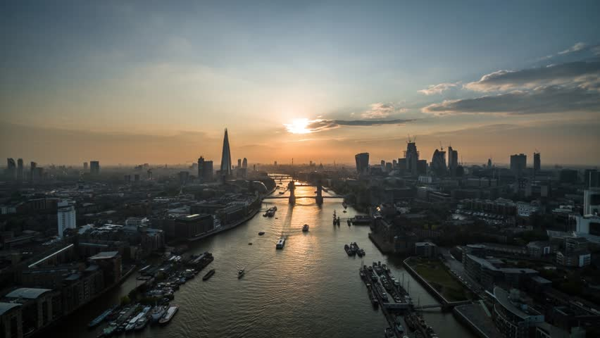 Establishing Aerial View of Tower Bridge, Shard, London Skyline, London, United Kingdom | Shutterstock HD Video #1015781452