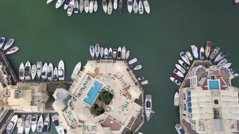 Beautiful Aerial View of Benalmadena Puerto Marina Malaga Costa del Sol Spain