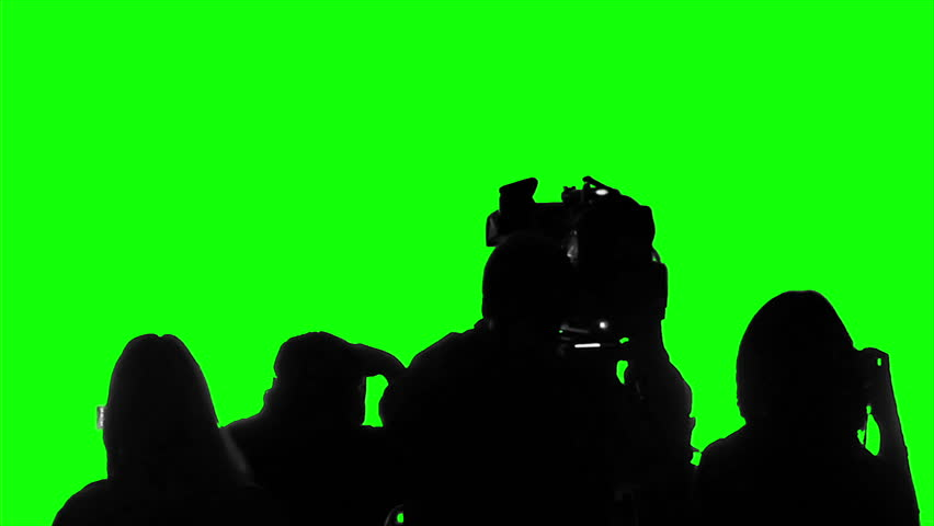 Television crew covering event, live broadcast, media, reporters on green screen