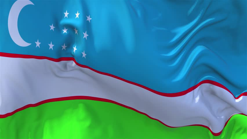 40. Uzbekistan Flag Waving in Wind Slow Motion Animation . 4K Realistic Fabric Texture Flag Smooth Blowing on a windy day Continuous Seamless Loop Background.