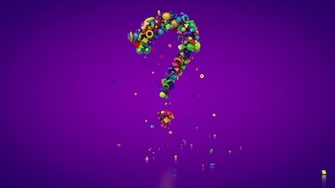 Question mark 3d animation. Colorful question mark formed on a customized background from small glossy pieces. HD video with its alpha channel for any editing and composition usage.
