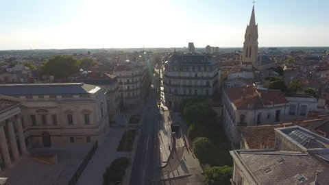 Montpellier Arc de Triomphe aerial-view back travelling shot. Sunny day France.