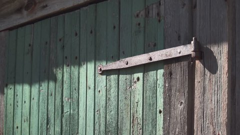 Old rusty metal hinge on green wood door