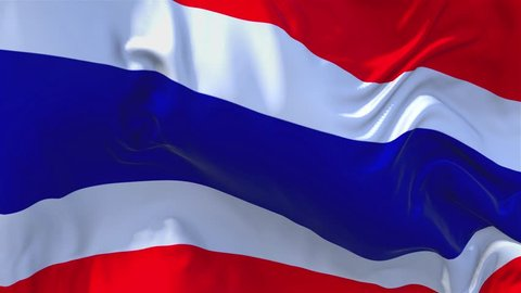 136. Thailand Flag Waving in Wind Slow Motion Animation . 4K Realistic Fabric Texture Flag Smooth Blowing on a windy day Continuous Seamless Loop Background.