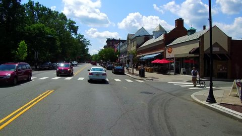 Princeton, NJ / United States - August 12, 2018.  This video show the street view scenery of downtown Princeton, New Jersey.