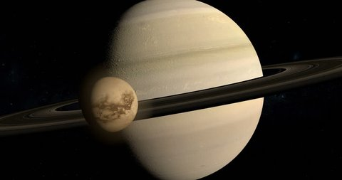 Titan, Saturn moon, rotating and orbiting around Saturn planet