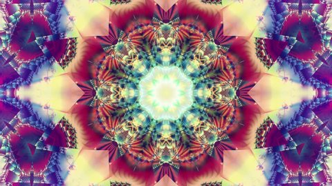 Blue kaleidoscope sequence patterns. 4k. Abstract multicolored motion graphics background.  Beautiful bright ornament. Seamless loop.
