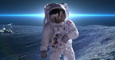 Apollo Astronaut Moon Landing blue lens flare  Elements of this clip furnished by NASA