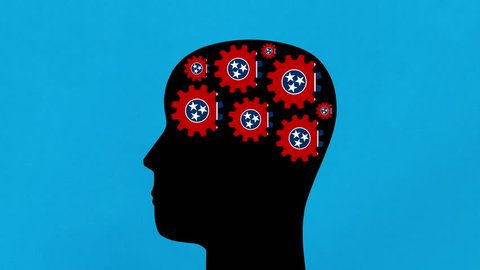 Turning Tennessee US state flag gears in human head profile