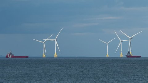Part of the Aberdeen Wind Farm, an offshore wind farm of 11 turbines located in the North Sea near Aberdeen, Scotland