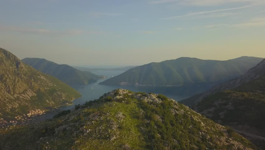 Aerial view of the mountains and Kotor Bay. Montenegro. #1015964752