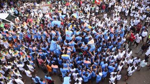 Mumbai /India 03 September 2018 Devotees try to form a human pyramid to break a clay pot during Dahi Handi celebrations at Dadar Mumbai Maharashtra India