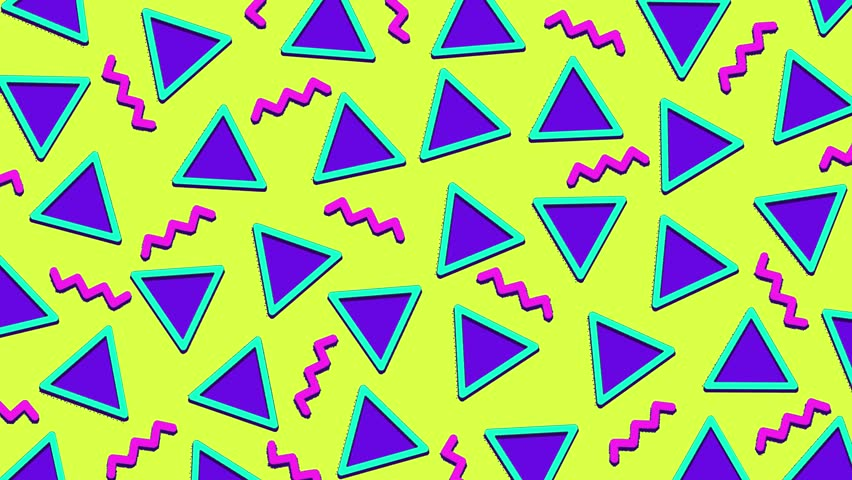 Retro abstract 80's 90's design pattern background. Memphis style with geometrical shapes of different vintage colors. Seamless 4k pop art design. | Shutterstock HD Video #1016011132