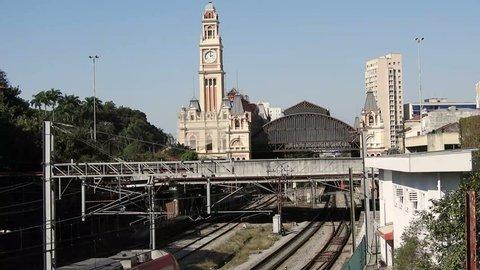Sao Paulo, Brazil, June, 29, 2018. Railway tracks near the Luz train station, in Sao Paulo. Luz train station, railway station built in the late nineteenth century