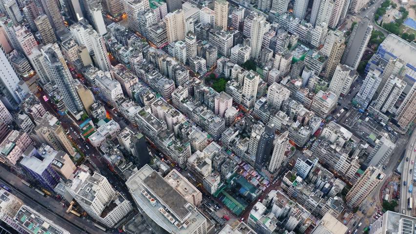 Mong Kok, Hong Kong 04 September 2018:-Aerial view of Hong Kong city | Shutterstock HD Video #1016020882