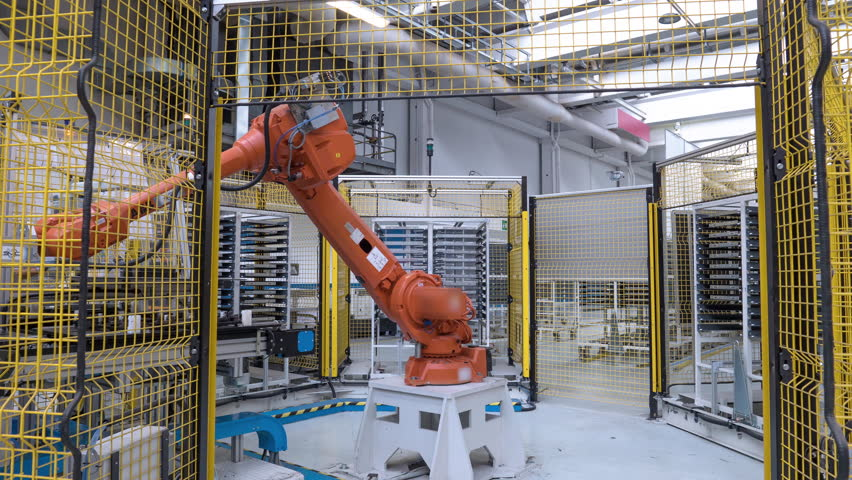 Automated industrial robot, 4th industrial revolution. 4k time lapse video