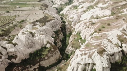 Aerial footage from Cappadocia (Kapadokya), a UNESCO site in Turkey with unique rock formations and historic towns