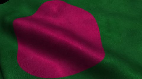 Photorealistic 4k Close up of bangladesh flag slow waving with visible wrinkles and realistic fabric. 15 seconds 4K, Ultra HD resolution bangladesh flag animation.
