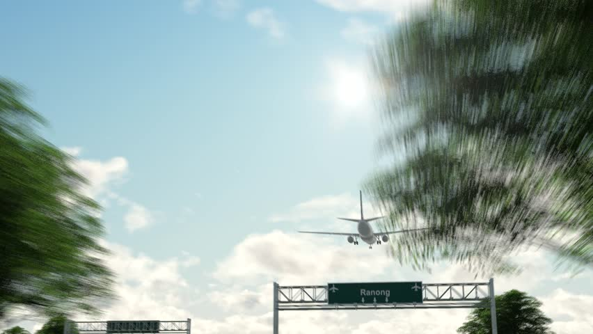 Airplane Arriving to Ranong Airport to Thailand