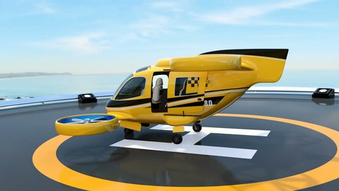 Orange Passenger Drone Taxi takeoff from helipad on the roof of a skyscraper. 3D rendering animation.