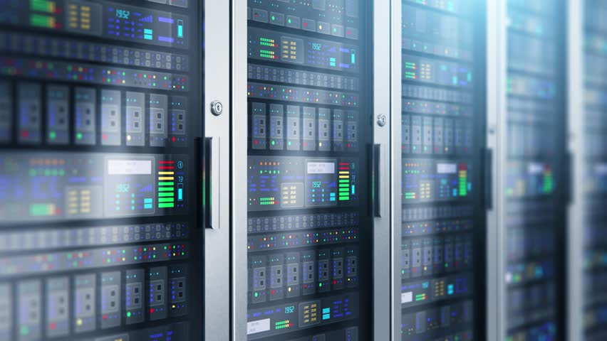 Modern web network and internet telecommunication technology, big data storage and cloud computing computer service business concept: 3D render illustration of the macro view of server room interior i #1016181562