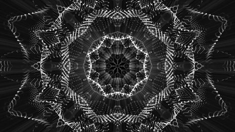 geometric patterns of moving white particles. abstract background. 3D rendering
