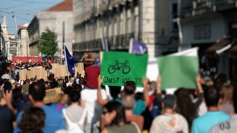 Climate Change March Europe. People worldwide demanding real climate action from their local leaders. Lisbon, Portugal