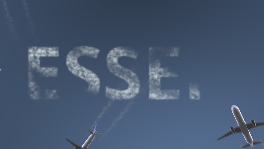 Flying airplanes reveal Essen caption. Traveling to Germany conceptual intro animation