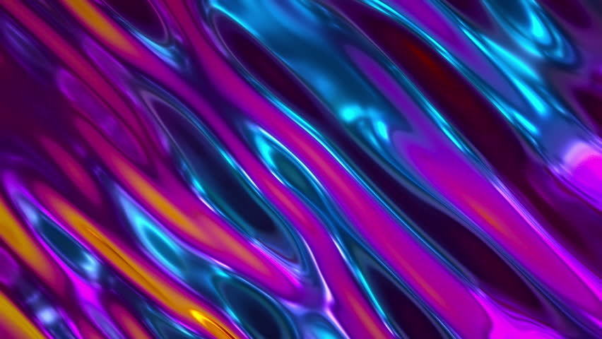 3d render, abstract holographic foil background, wavy surface, ripples, trendy vibrant texture, fashion textile, neon colors, graphic design, animated texture.