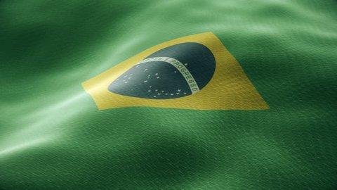 Closeup of a waving brazilian flag looping