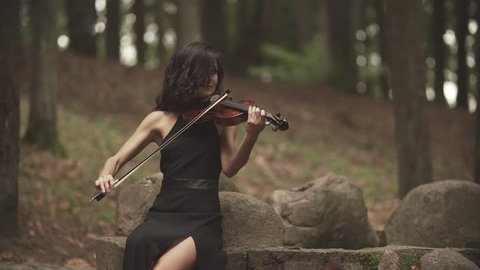 Beautiful girl in black dress playing violin in forest. Young violinist plays with inspiration with copyspace at right