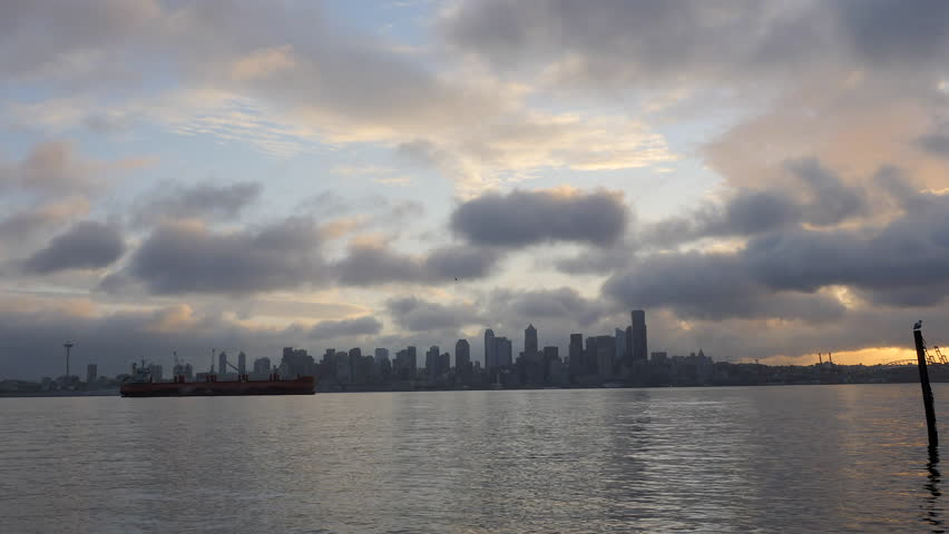 Time Lapse of Cloudy Sunrise Looking at Downtown Seattle Skyline