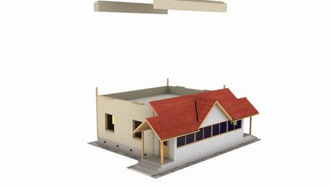 Home construction. Build structure. Time-lapse 3d animation showing a process of building of the house. House animation being assembled on white background. Full HD