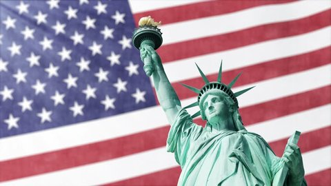American Flag Waving With Statue Of Liberty Background